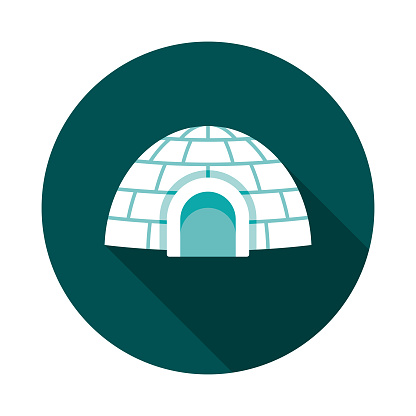 Igloo Flat Design Winter Icon with Side Shadow