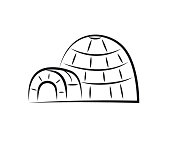 Igloo, snow house or snow hut drawing or doodle, igloo illustration in minimalist freehand style