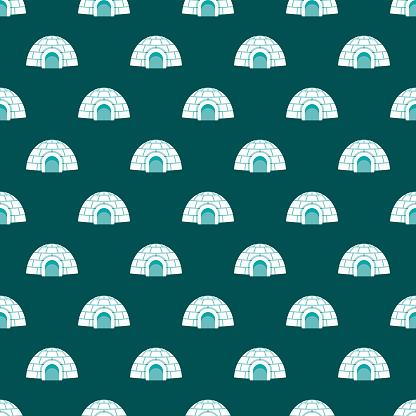 Igloo Winter Seamless Pattern