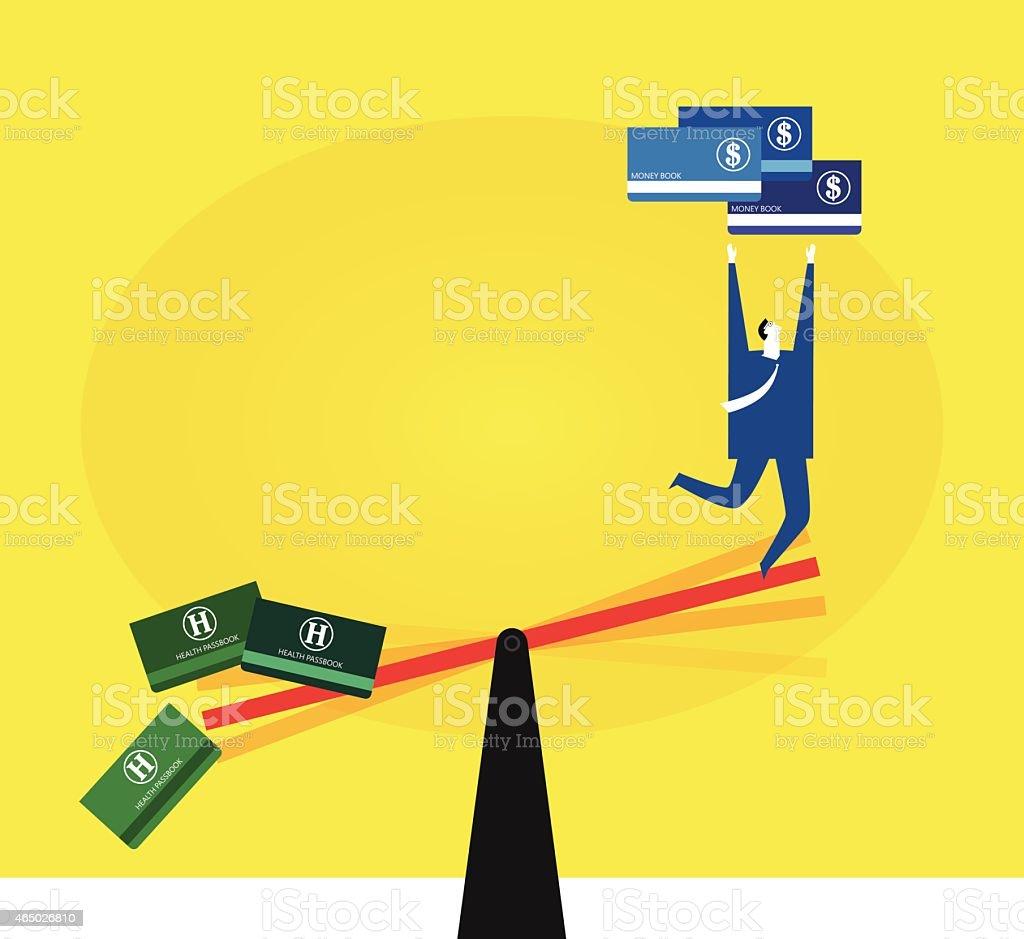 Ignoring health for money vector art illustration