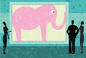 People talking while ignoring the pink elephant in the room. The people and the background are on separate labeled layers.