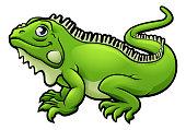 An illustration of an iguana lizard cartoon character