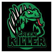 Iguana mascot sport logo design vector graphic illustration. Wild iguana reptile mascot. Angry green lizard animal for sport team. Modern concept for badge, emblem and t-shirt printing.