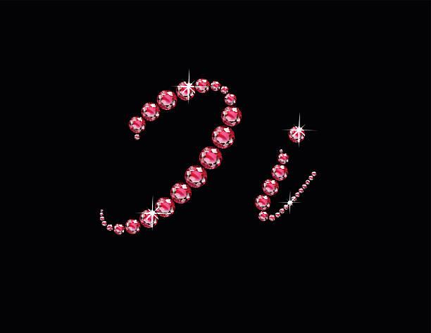 Ii Ruby Script Jeweled Font vector art illustration