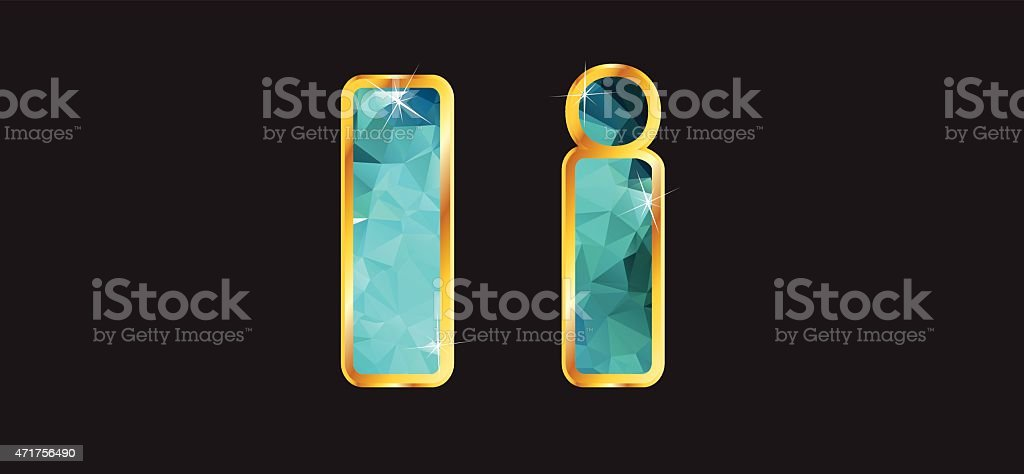 Ii with Gold and Teal vector art illustration