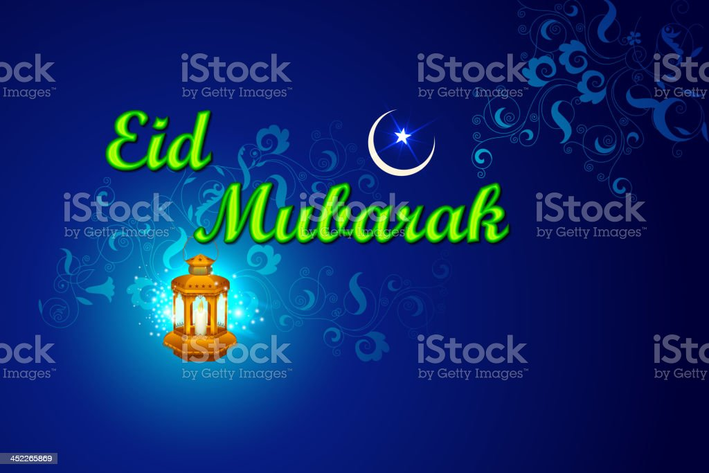 Iilluminated lamp for Eid Mubarak background royalty-free stock vector art