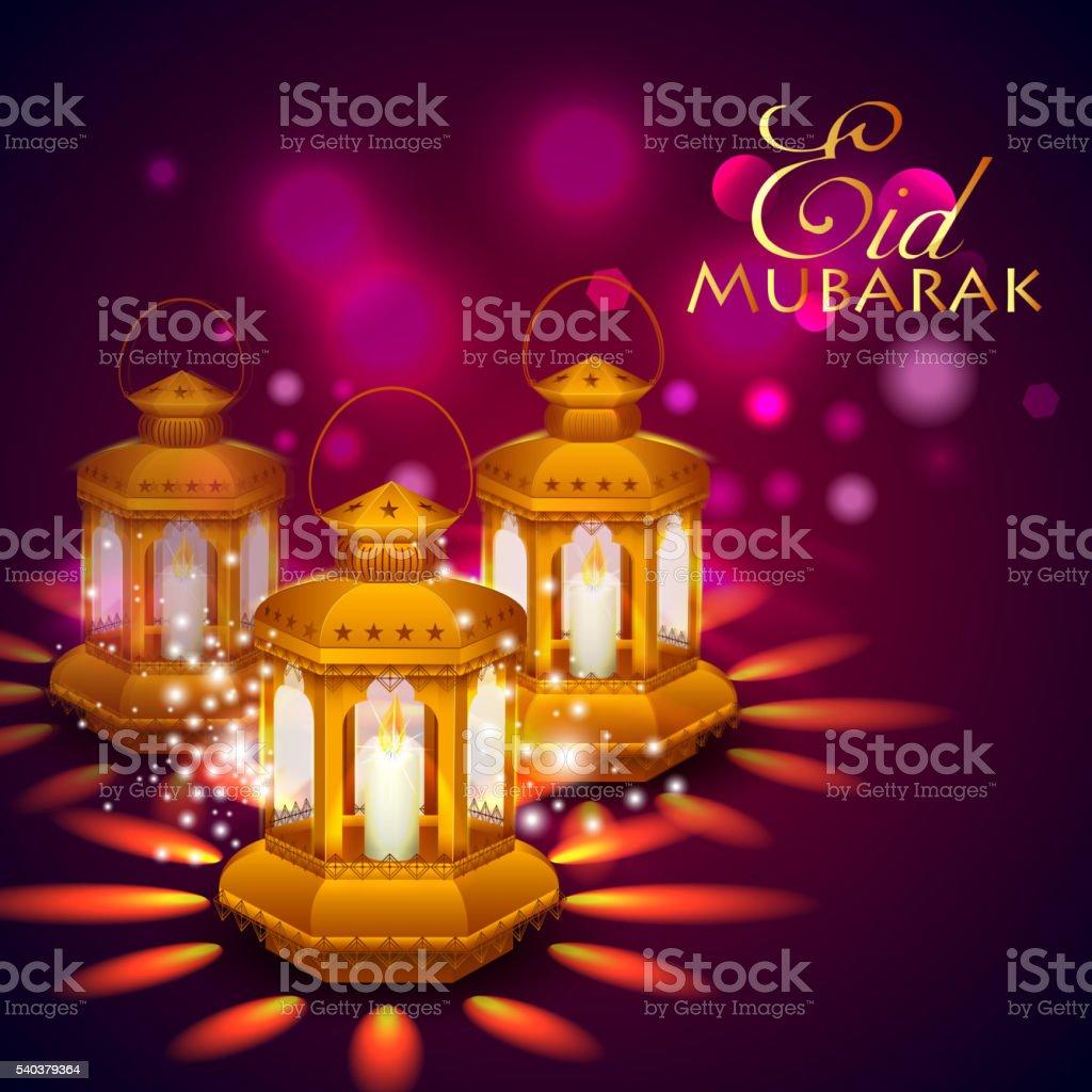 Iilluminated lamp for Eid Mubarak  background vector art illustration