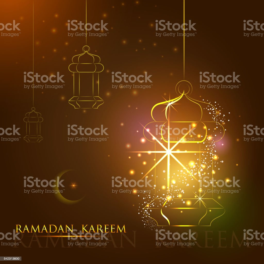 Iilluminated lamp for Ramadan Kareem Happy  background vector art illustration