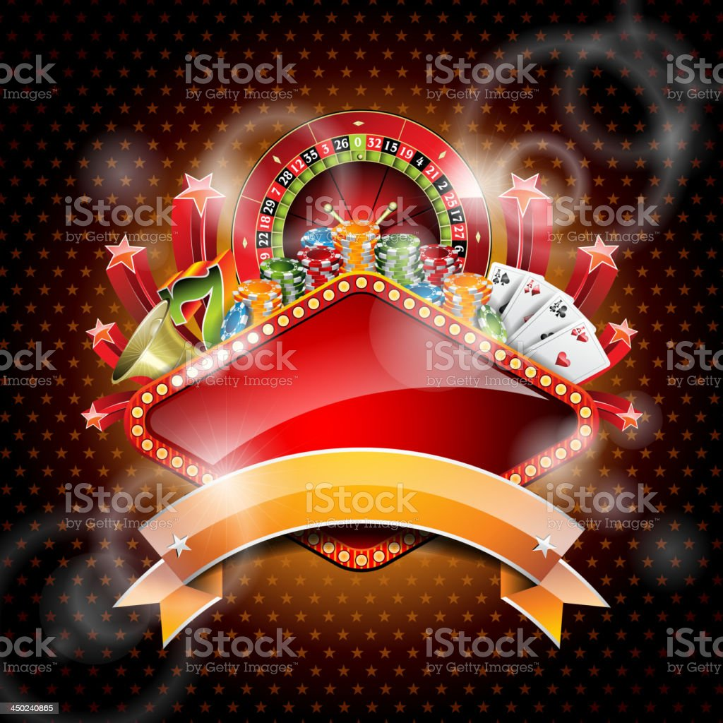 Iillustration on a casino theme with roulette wheel and ribbon. royalty-free stock vector art