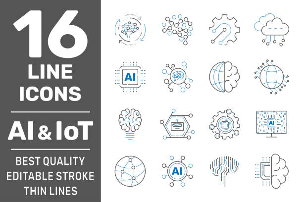 AI, IIot, Iot, cloud computing, cognitive computing industry 4.0 icons set. Cyber Physical Systems concept of industry 4.0 and AI. Editable Stroke. EPS 10 vector art illustration