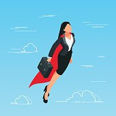 IIsometric business woman flies in the sky as a superhero. 3d business lady with a briefcase in her hand flies up. Business start-up concept. Vector illustration.