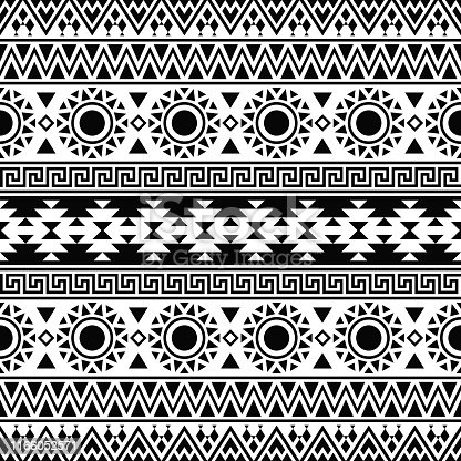 Ikat aztec ethnic pattern in black and white color. Indian, Native, Navajo, Inca design