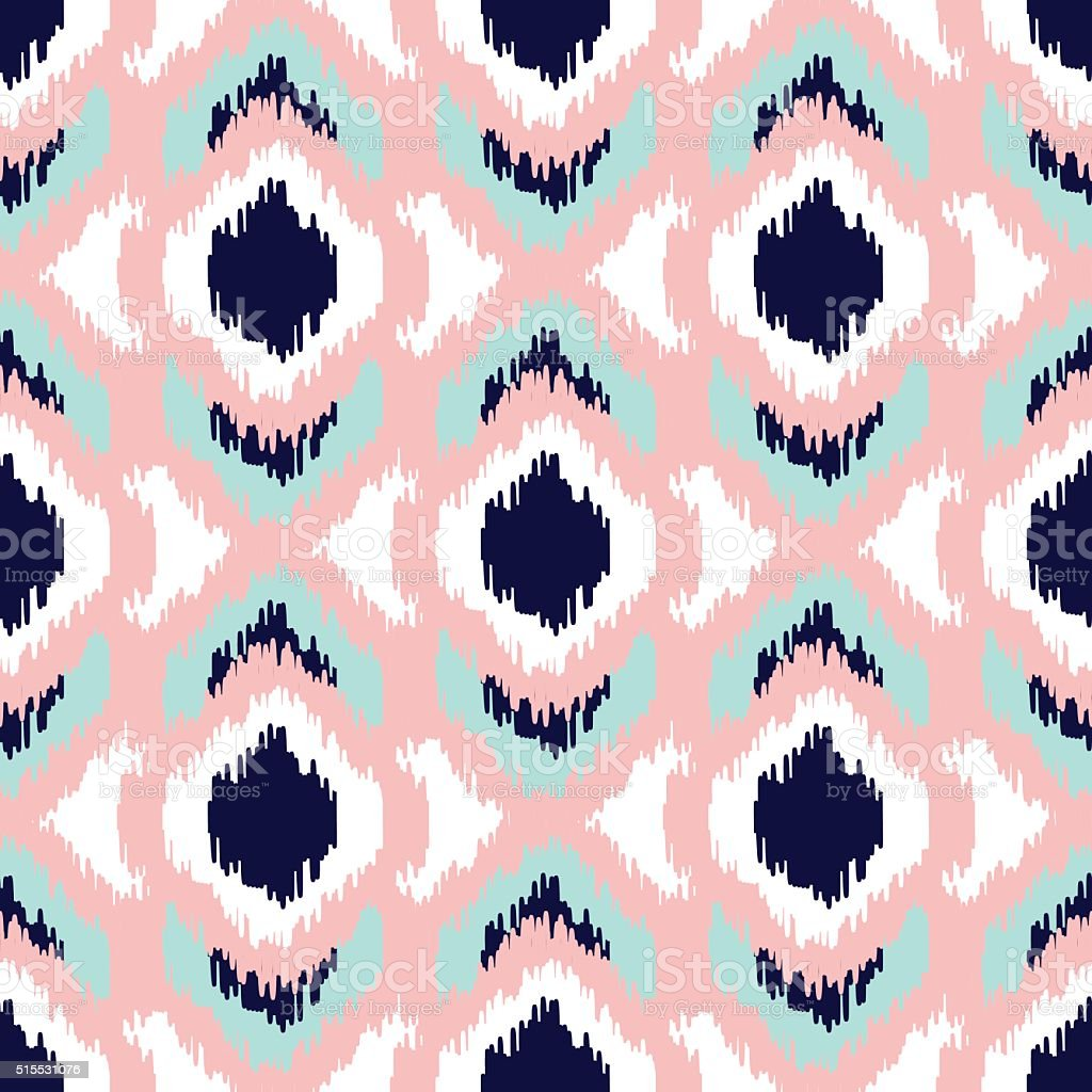 Ikat geometric seamless pattern. Pink and blue collection vector art illustration