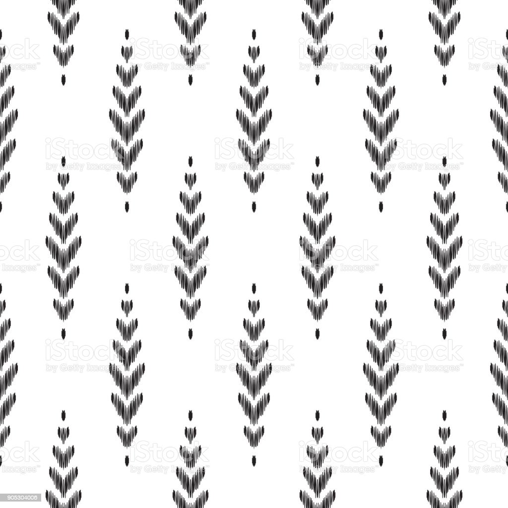 Ikat seamless pattern. Fashion wallpaper. vector art illustration