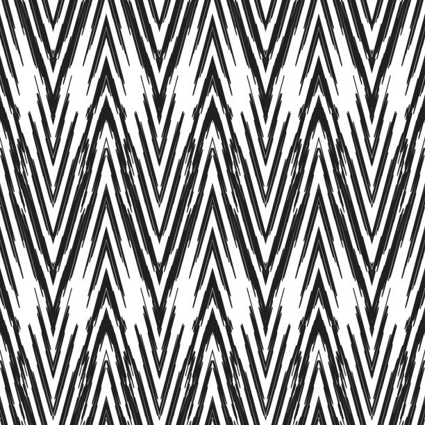 Ikat seamless pattern. Fashion wallpaper. Seamless pattern for home decor ideas. Ikat chevron wallpaper. Ethnic, indian, aztec fashion style. Pillow textile decoration. Tribal vector background. Black and white graphic design. fabric swatch stock illustrations