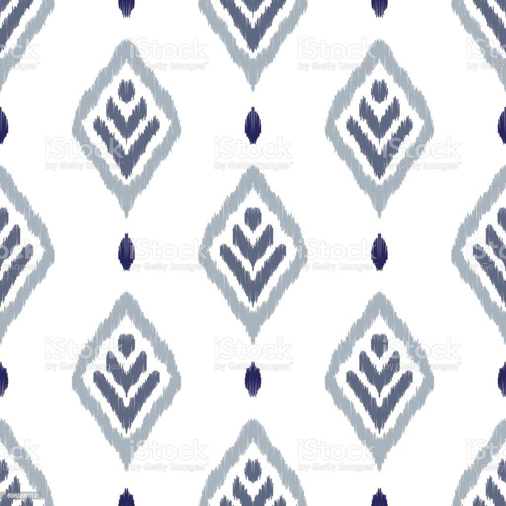 Ikat seamless pattern vector art illustration