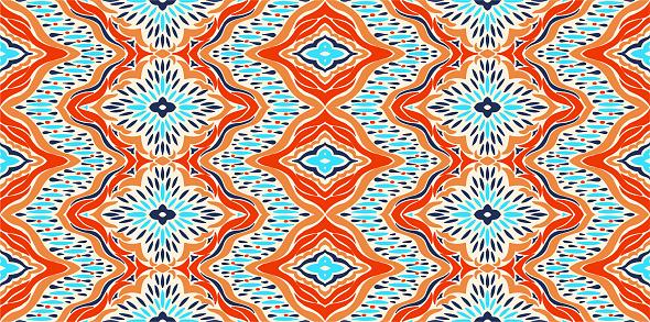 Ikat Seamless Pattern Vector Tie Dye Shibori Print With Stripes And Chevron Ink Textured Japanese Background Ethnic Fabric Vector - Stockowe grafiki wektorowe i więcej obrazów Abstrakcja
