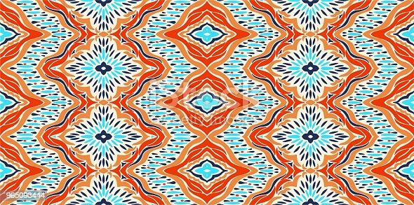 Ikat Seamless Pattern Vector Tie Dye Shibori Print With Stripes And Chevron Ink Textured Japanese Background Ethnic Fabric Vector - Stockowe grafiki wektorowe i więcej obrazów Abstrakcja 965093444