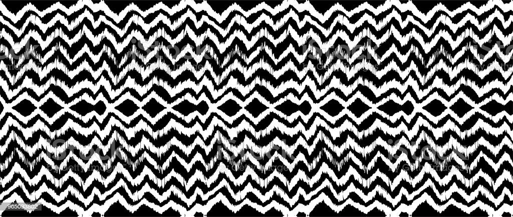 Ikat seamless pattern. Vector tie dye shibori print with stripes and chevron. Ink textured japanese background. royalty-free ikat seamless pattern vector tie dye shibori print with stripes and chevron ink textured japanese background stock vector art & more images of abstract