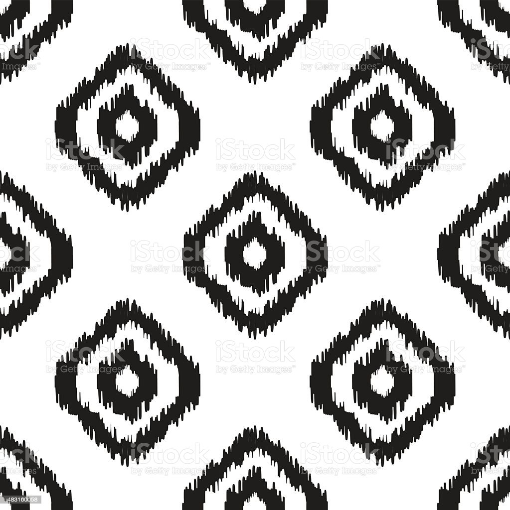 Ikat vector seamless pattern. Abstract geometric background for fabric, print vector art illustration