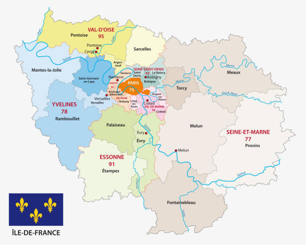 ile de france administrative and political map with flag, france ile de france administrative and political vector map with flag, france seine river stock illustrations