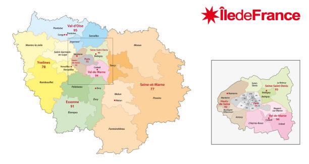 ile de france region administrative and political vector map ile de france region administrative and political vector map seine river stock illustrations