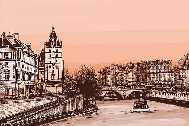 "ile de la cite - illustration Daylight view of the ile de la Cite from ""le pont neuf"" - Vector illustration seine river stock illustrations"