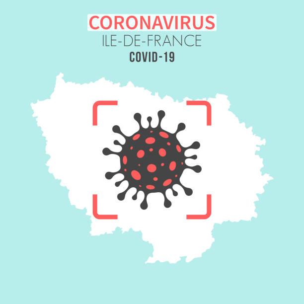 illustrations, cliparts, dessins animés et icônes de carte d'ile-de-france avec une cellule coronavirus (covid-19) dans le viseur rouge - covid france
