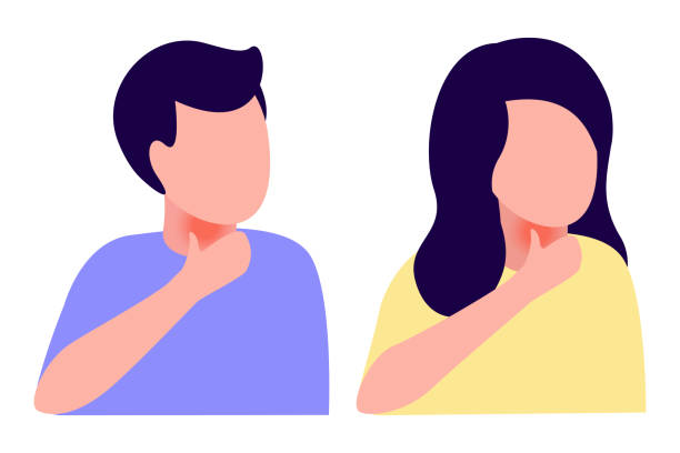 Ill abstract man and woman sore throat. Disease, cold, cough, weakness. Vector illustration on white background Ill abstract man and woman sore throat. Disease, cold, cough, weakness. Vector illustration sore throat stock illustrations