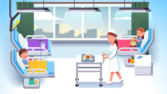 Ill girl and injured boy kids patients lying in modern hospital ward beds. Nurse carrying pills, medicine, food. Girl child eat meal. Health care medical treatment. Flat vector illustration