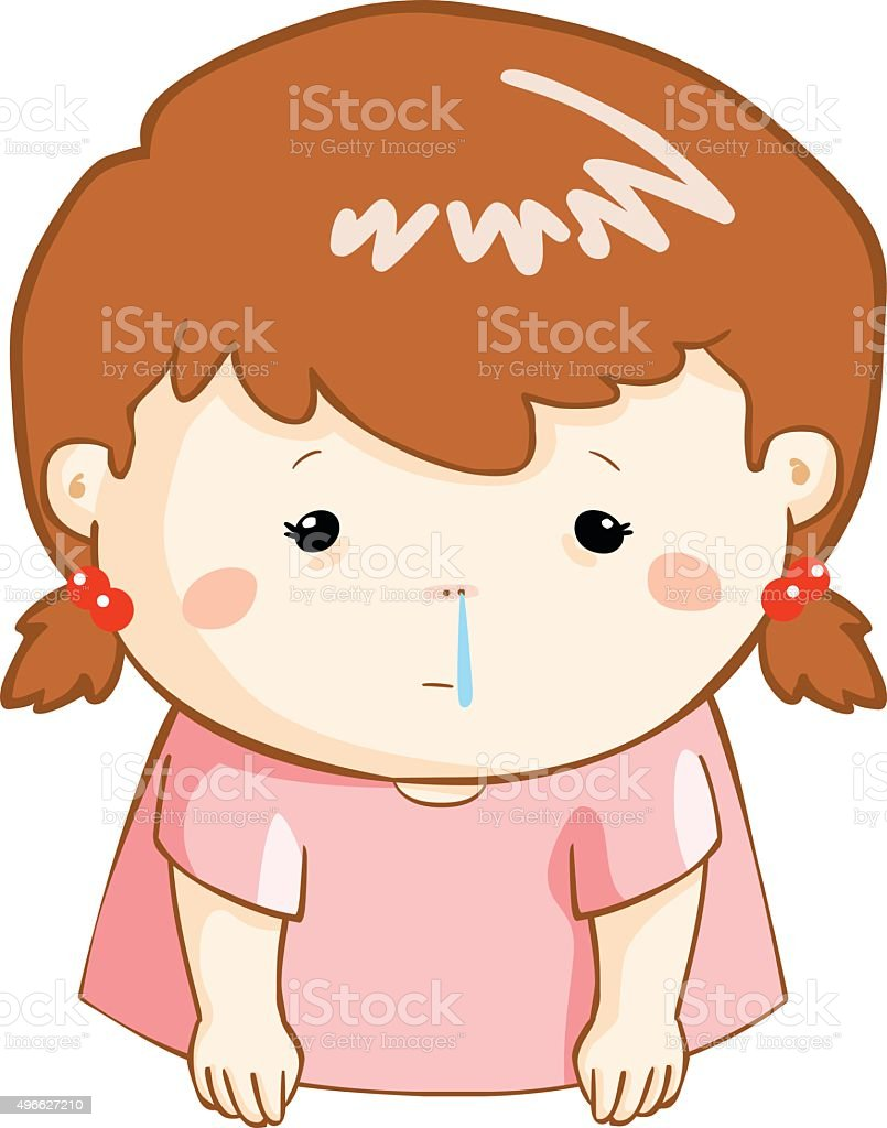 Ill Girl Runny Nose Cartoon Vector Stock Illustration Download Image Now Istock