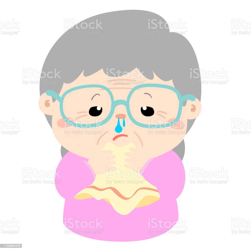 Ill Grandmother Runny Nose Cartoon Vector Stock Illustration Download Image Now Istock