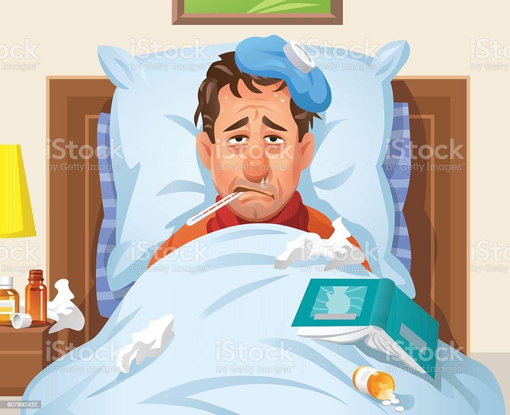 Ill Man Lying In Bed vector art illustration