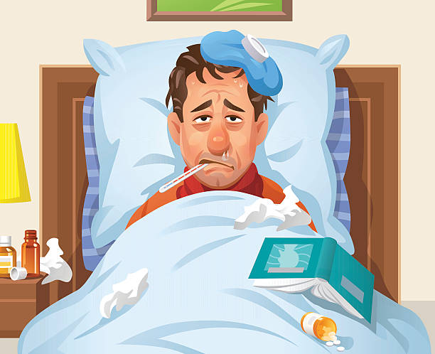 Ill Man Lying In Bed Vector illustration of a man with a flu or cold lying in bed. He looks tired, has a red nose, is snorting and sweating, has an ice bag on his head and a thermometer in his mouth.  pneumonia stock illustrations