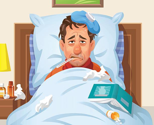 bildbanksillustrationer, clip art samt tecknat material och ikoner med ill man lying in bed - sjukdom