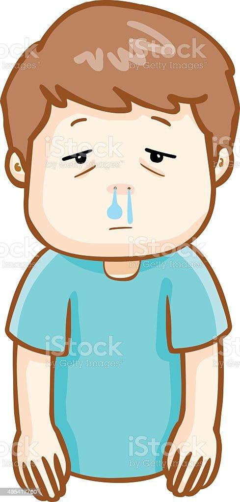 Ill Man Runny Nose Cartoon Vector Stock Illustration Download Image Now Istock
