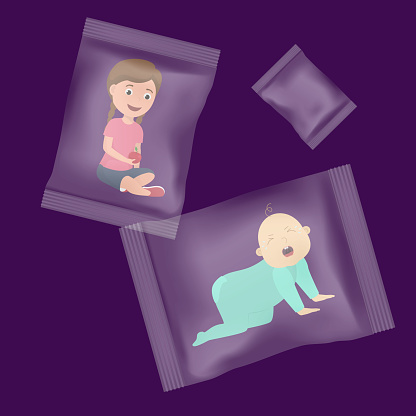 Illegal children trafficking and carriage vector illustration concept. Little children packed in plastic bags like goods. Infant child boy crying, girl smiling.