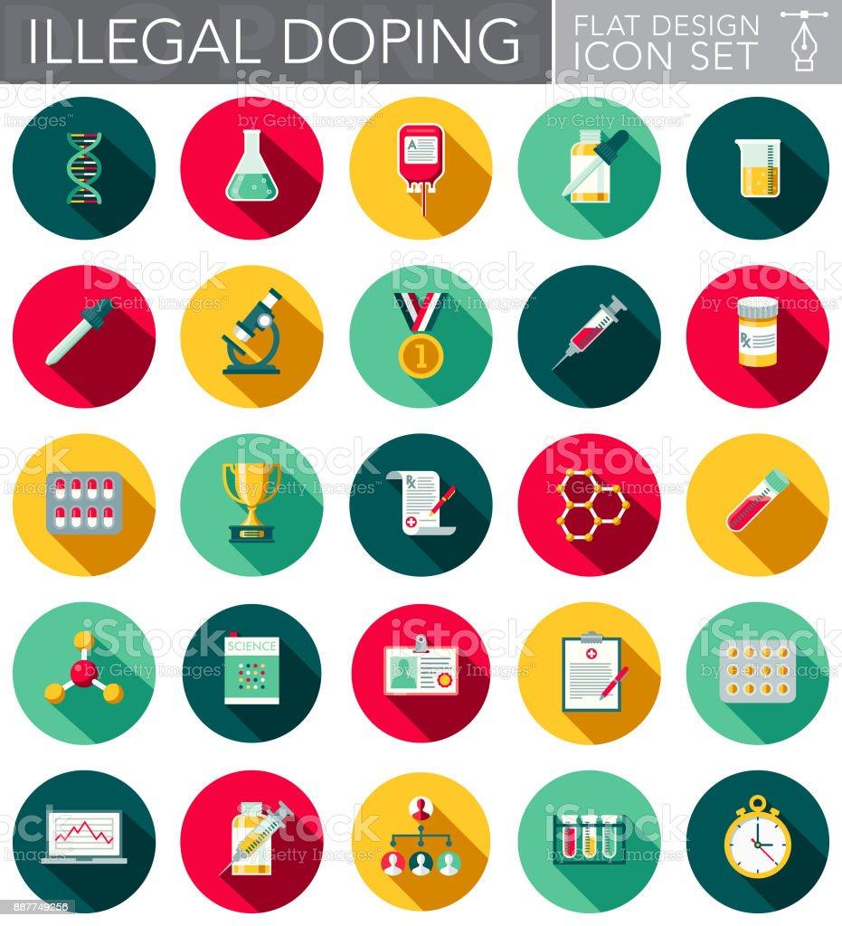 Illegal Doping Flat Design Icon Set vector art illustration