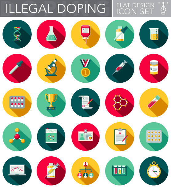illegales doping flaches design-icon-set - becherglas stock-grafiken, -clipart, -cartoons und -symbole