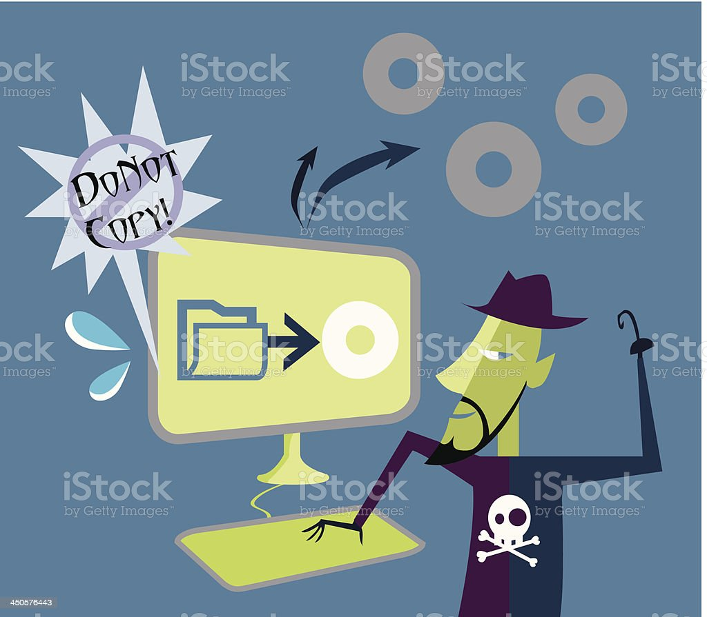 Illegal Downloading Man royalty-free stock vector art