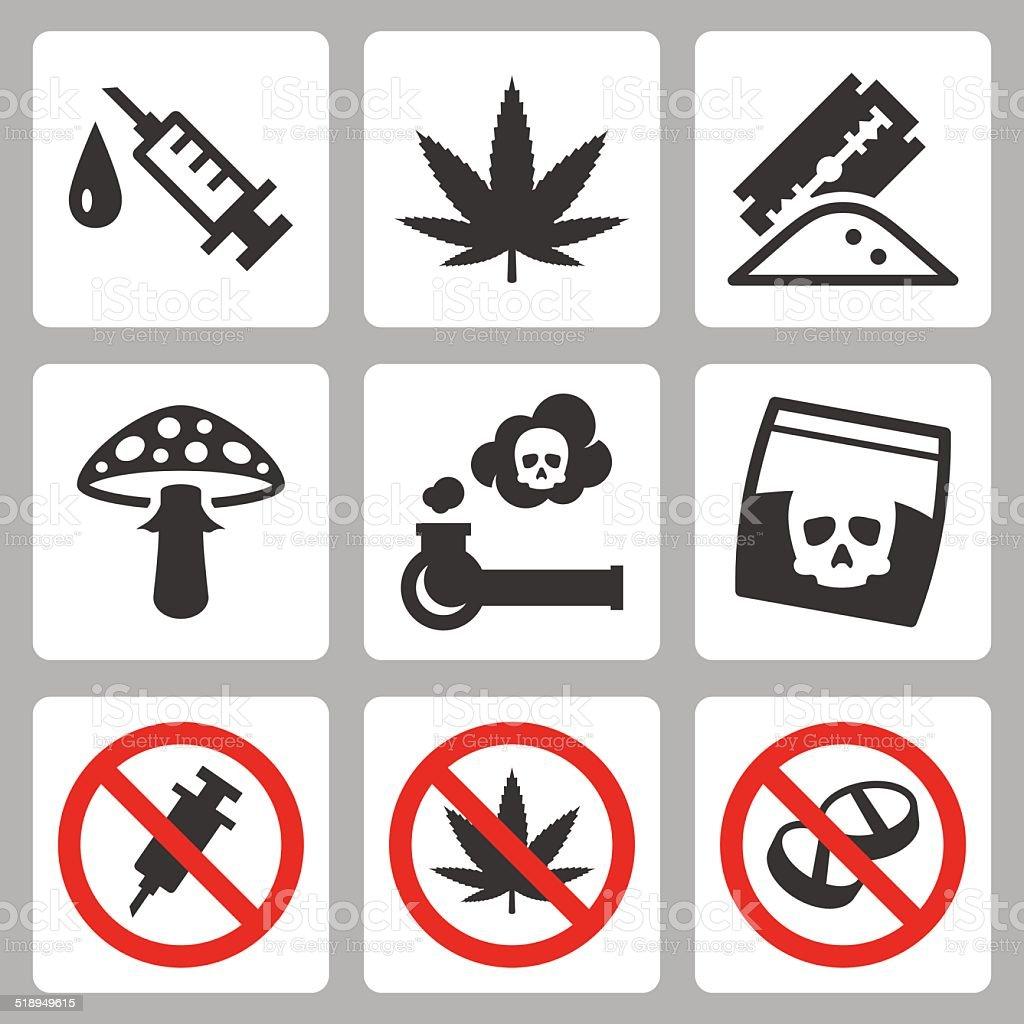 Illegal drugs vector icons set vector art illustration