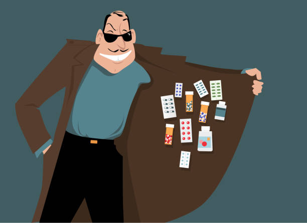 Illegal drugs Man selling illegal or counterfeit drugs, EPS 8 vector illustration smuggling stock illustrations