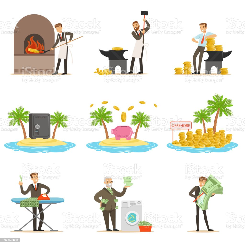 Illegal Money Laundering And Using Offshores Set Of Illustrations With Corrupt Businessman Washing Dirty Money royalty-free illegal money laundering and using offshores set of illustrations with corrupt businessman washing dirty money stock vector art & more images of adult
