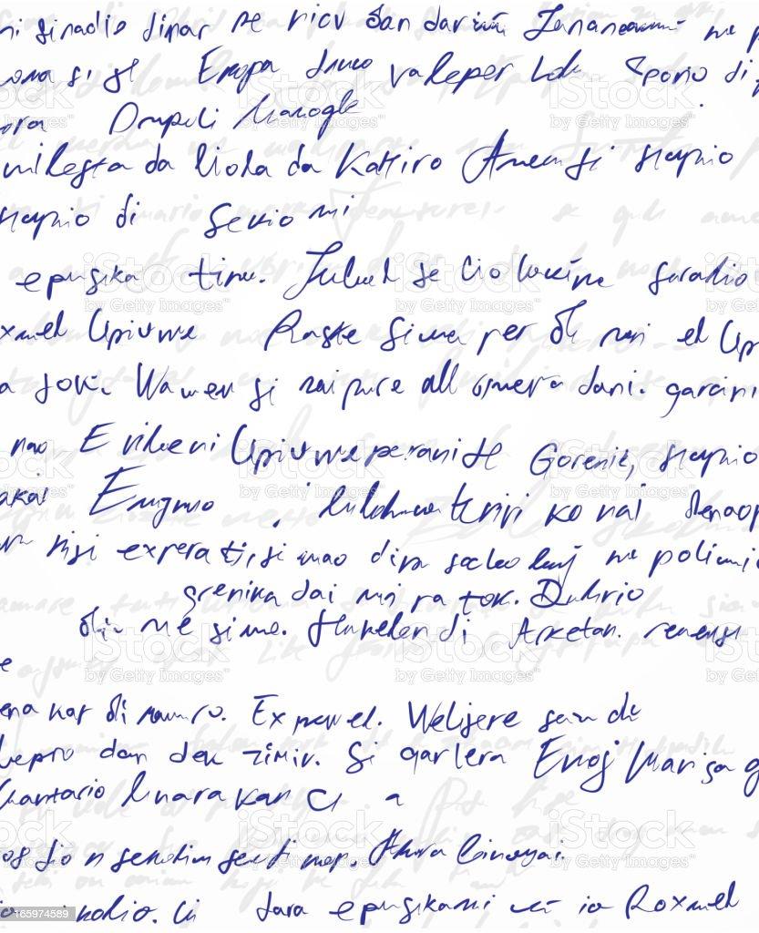 Illegible blue handwritten scribble on white paper vector art illustration