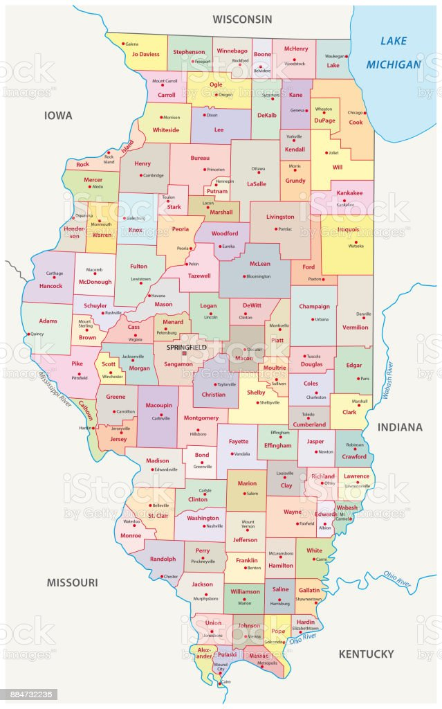 Mapa Administrativo Y Político De Illinois Illustracion Libre De - Mapa de illinois