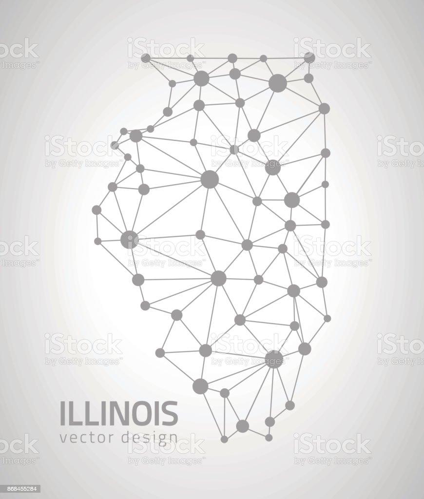 Illinois contour vector map vector art illustration