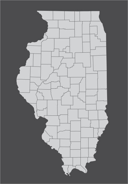 Illinois counties map The Illinois State counties map isolated on dark background champaign illinois stock illustrations