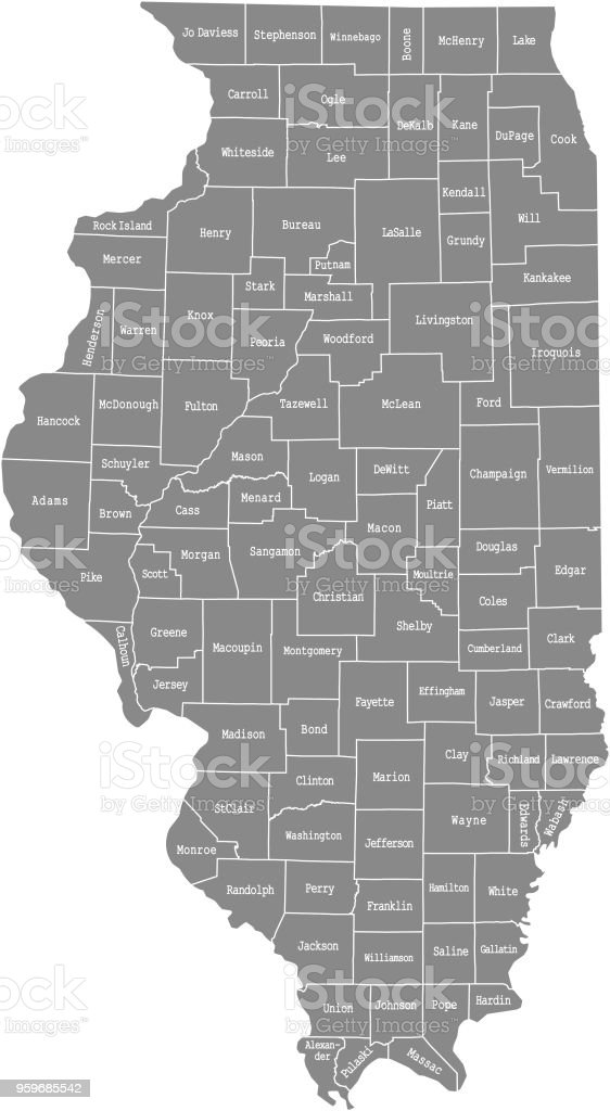 Illinois county map vector outline illustration with counties names labeled in gray background. Highly detailed county map of Illinois state of United States of America, USA vector art illustration