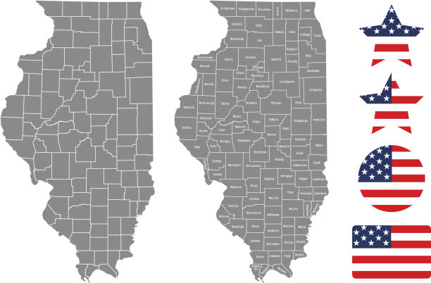 Illinois county map vector outline in gray background. Illinois state of USA map with counties names labeled and United States flag vector illustration designs The maps are accurately prepared by a GIS and remote sensing expert. champaign illinois stock illustrations