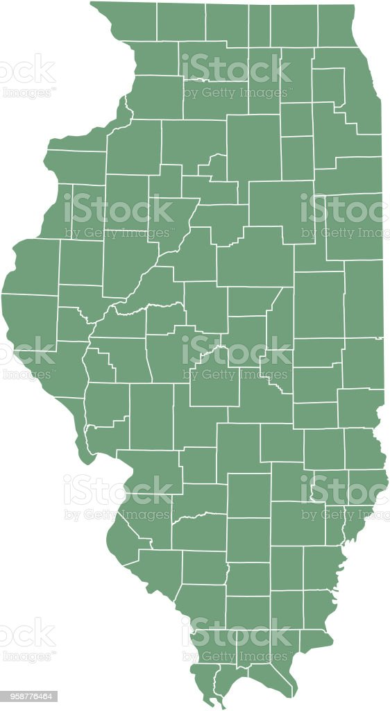 Illinois county map vector outline, state of USA, in green background vector art illustration
